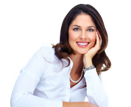businesswoman standing: Beautiful young business woman