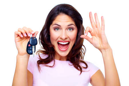 auto dealership: Woman with a car keys  Stock Photo