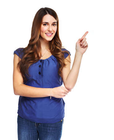 Young woman showing a copyspace Stock Photo - 18492254