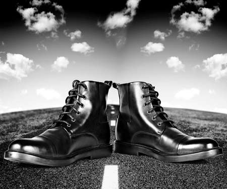 Black man shoes on the road  photo