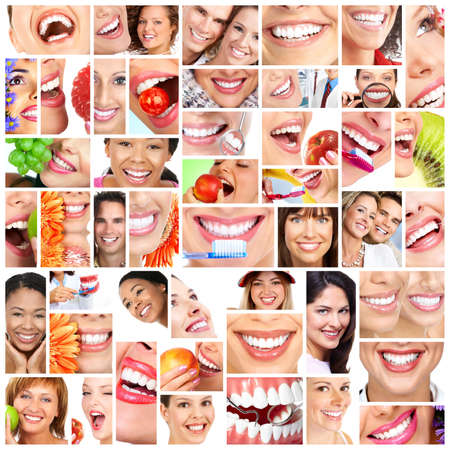 People smile collage