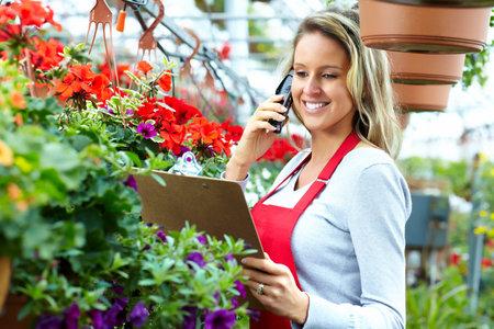 weeding: Woman working in nursery  Stock Photo