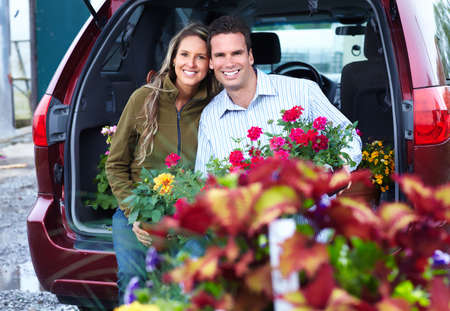 Young couple with flowers  photo