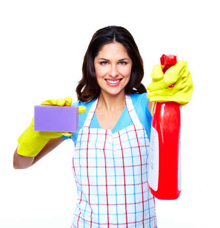 Young smiling cleaner woman