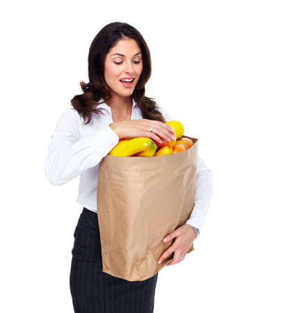 Young woman with a grocery bag Stock Photo - 18901167