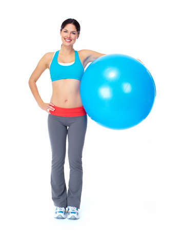 fit ball: Young beautiful fitness woman