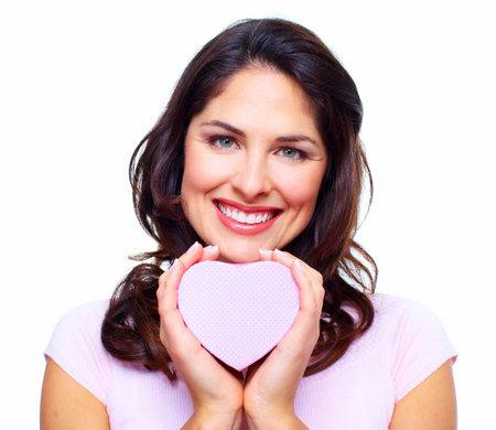 Beautiful woman with a heart box  photo