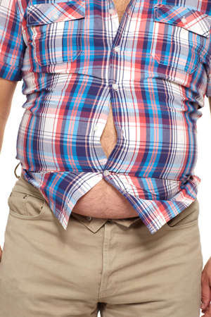 thick: Fat man with a big belly  Stock Photo