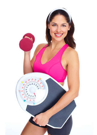 weight loss success: Young beautiful fitness woman