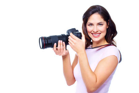Woman with a photocamera  photo