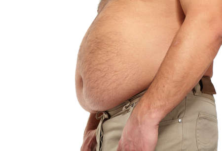 weight loss man: Fat man with a big belly  Stock Photo