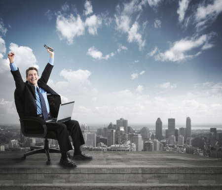 web development: Businessman with laptop computer