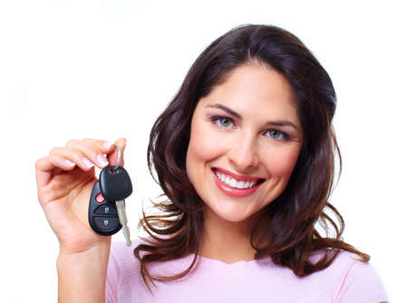 woman driving car: Woman with a car keys  Stock Photo