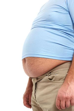 지방: 큰 배를 가진 뚱뚱한 남자 스톡 사진