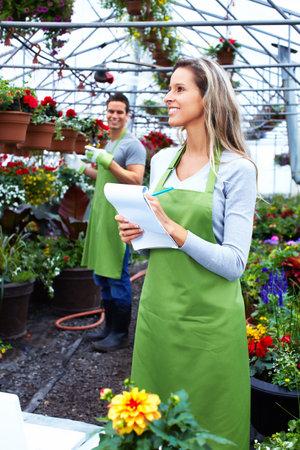 weeding: People working in nursery