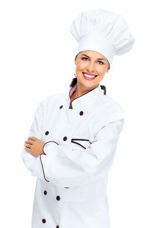 culinary chef: Chef woman  Stock Photo