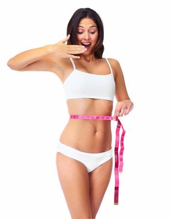 woman measuring: Young beautiful fitness woman