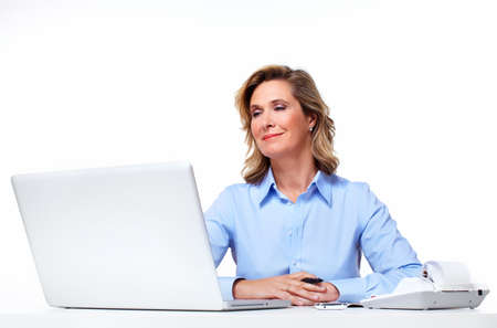 Business woman with a laptop computer Stock Photo - 18572855