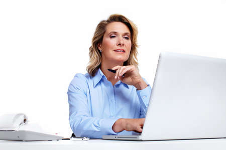 Business woman with a laptop computer  photo
