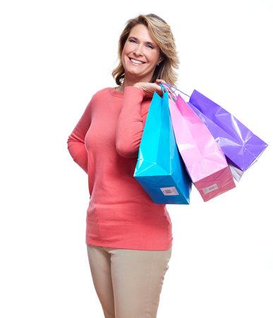 toma corriente: Superior de la mujer con bolsas de la compra