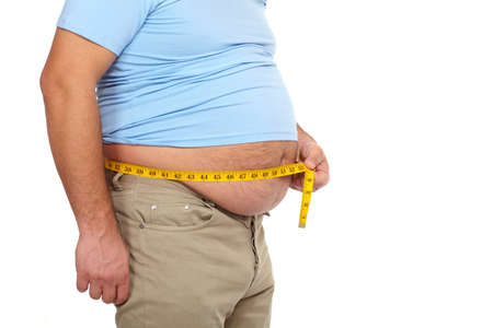 hands on waist: Fat man with a big belly  Stock Photo