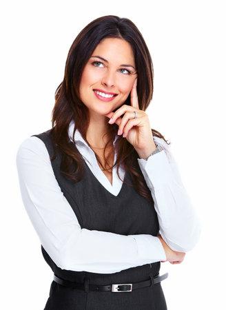 donna pensiero: Bella giovane donna d'affari