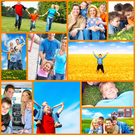 Happy family collage  photo