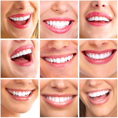 Beautiful woman smile collage
