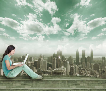 web development: Young woman with laptop computer