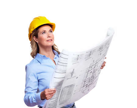 Architect woman with a plan  photo
