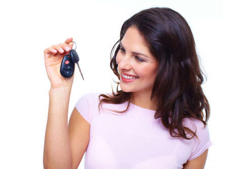 salon background: Woman with a car keys  Stock Photo