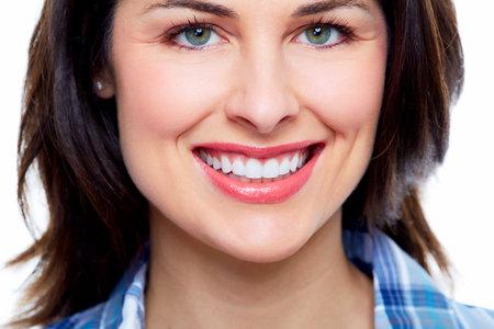 smile close up: Beautiful woman smile