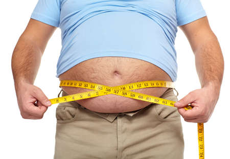 fatness: Fat man with a big belly  Stock Photo