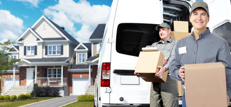 courier: Delivery postman  Stock Photo