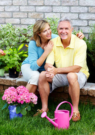 Senior couple gardening  photo