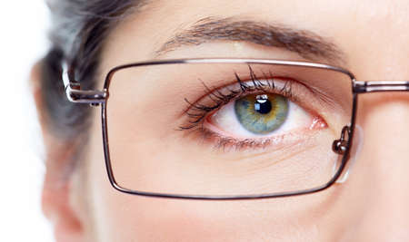 myopia: Eye with eyeglasses  Stock Photo