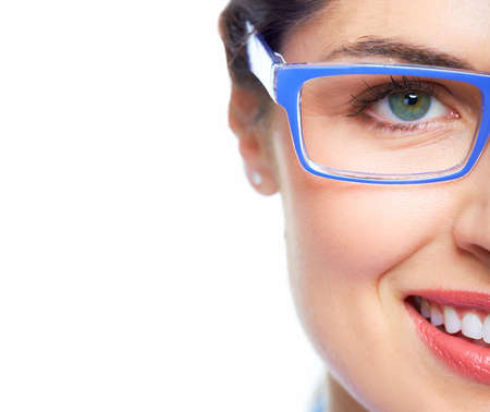 Woman eye  with eyeglasses  photo