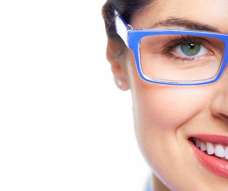 oculist: Woman eye  with eyeglasses