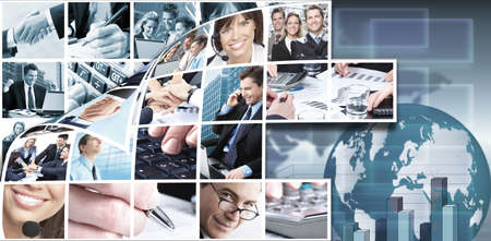 business woman phone: Business team collage background
