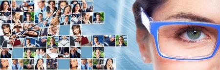 collage caras: Mujer ojo