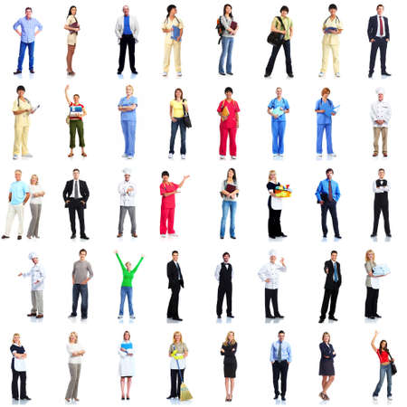 grote groep mensen: Groep werknemers mensen stellen