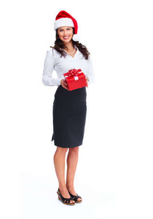 business: Santa helper business woman with a present