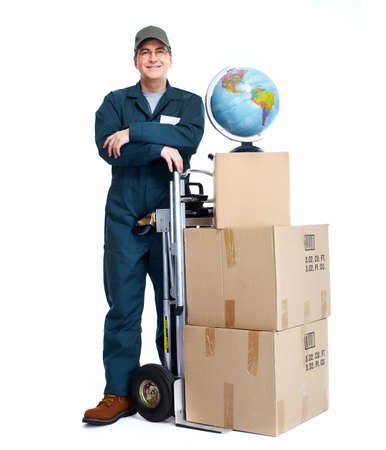 on the move: Delivery postman  Stock Photo