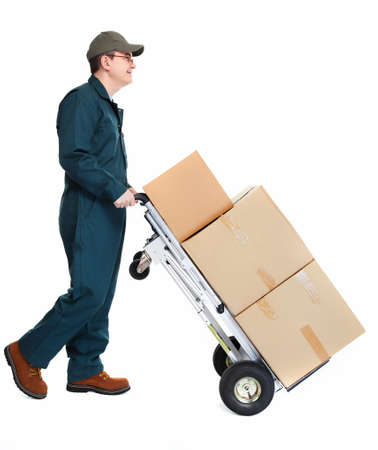 trolley: Delivery postman  Stock Photo