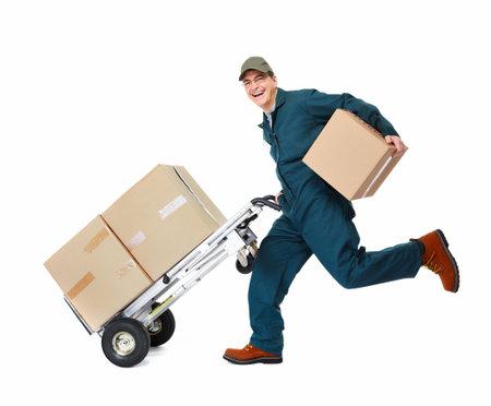 facteur: Courir livraison postman Banque d'images