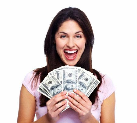 돈으로 행복 한 여자 스톡 콘텐츠
