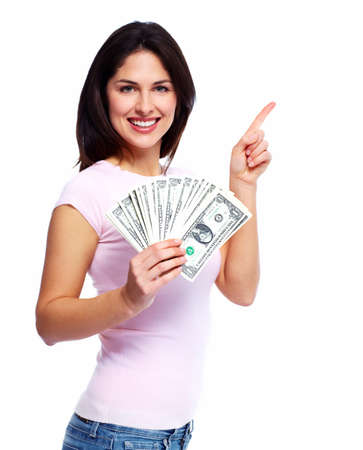cost savings: Happy woman with money