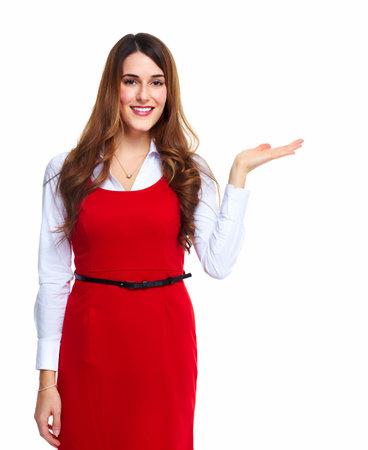 invitando: Mujer de negocios que presenta