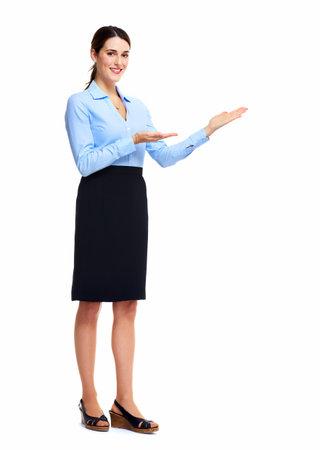 alzando la mano: Mujer de negocios que presenta
