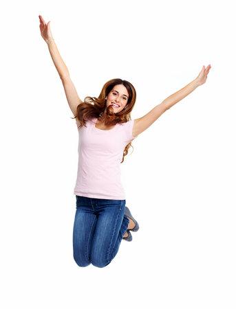 air jump: Happy jumping girl  Stock Photo